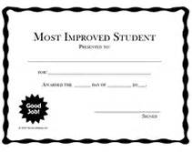Most Improved Certificate Template by Printable Most Improved Student Awards School Certificates