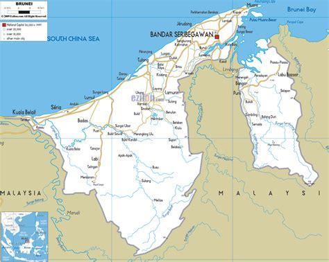 brunei map road map of brunei ezilon maps