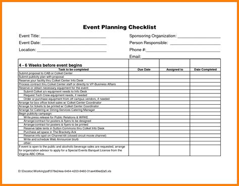 event planning template checklist 9 free event planning checklist template excel ideas of