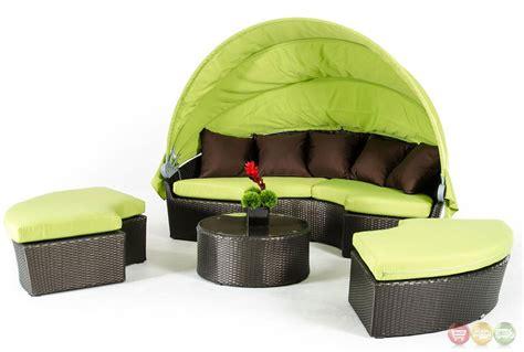 bari outdoor lime green sofa set  retractable canopy