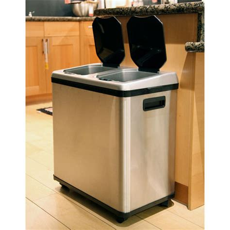Dual Kitchen Trash Can by Trash Cans 16 Gallon Dual Compartment Stainless Steel