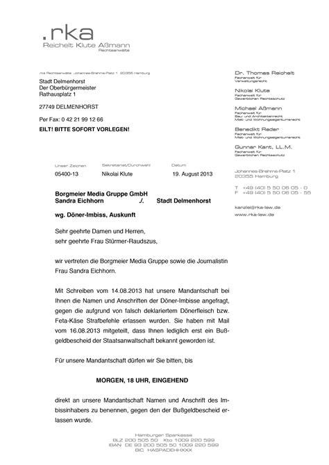 Anwalt K Ndigen Brief D 246 Ner Skandal Borgmeier Media Gruppe K 228 Mpft Per Anwalt Um Auskunft