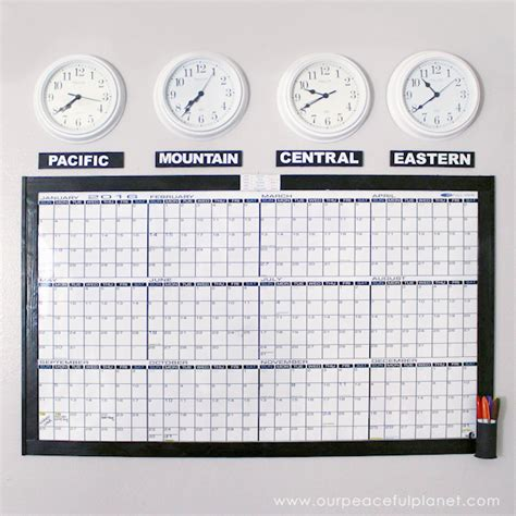 Calendar Zone Time Zones Whiteboard Calendar Free Printable