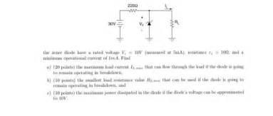 minimum power rating of zener diode the zener diode a voltage v z 10v me chegg