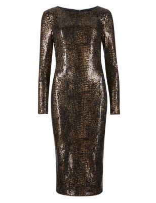 faux snakeskin print sequin embellished bodycon dress