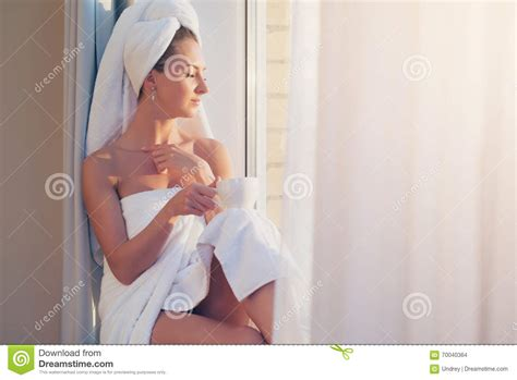After Taking A Shower by Beautiful Sitting Next To The Window Enjoying
