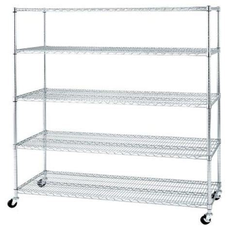 wire shelves home depot seville classics 5 shelf ultrazinc steel wire shelving system with casters wheels she24605z