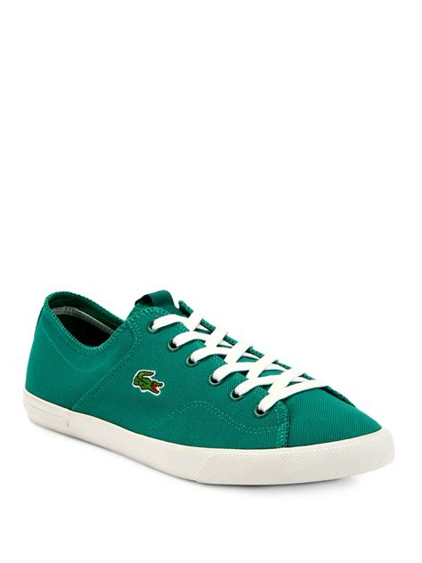 lacoste canvas lace up sneakers in green for lyst
