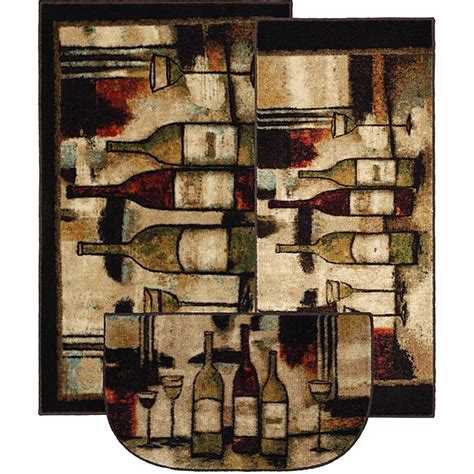 mohawk home wine and glasses three kitchen rug set