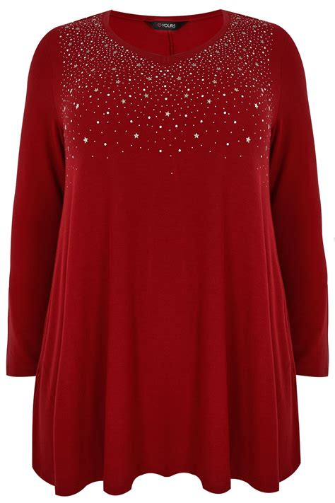 red swing top red star studded swing top with v neckline plus size 16 to 36