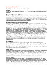 Resume Profile Samples Professional Profile