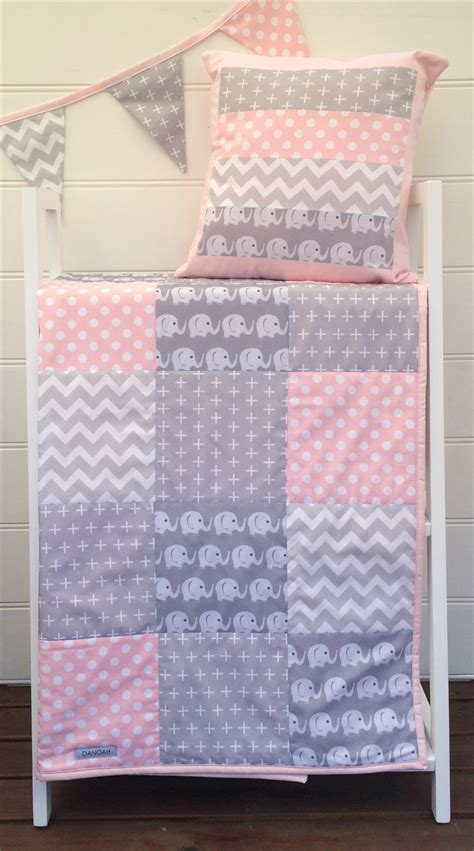 Cot Patchwork Quilt Patterns - baby cot patchwork quilt w pink and grey elephant pattern