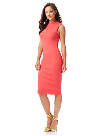ny c mesh panel mock neck knit dress