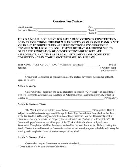 design and build contract guide pdf sle construction contractor agreement 7 documents in