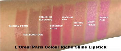 Review L Oreal Shine l oreal colour riche lipstick swatches makeup nuovogennarino