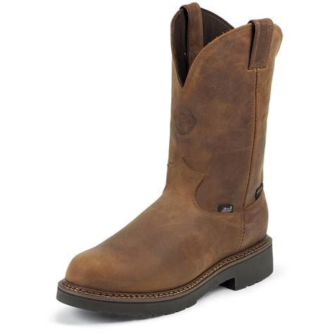 justin pull on work boots justin original 11 quot waterproof j max 174 pull on boots aged