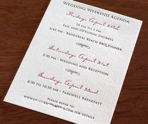 what is enclosed in a wedding invitation what is on the agenda for your wedding weekend don t
