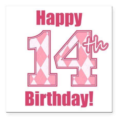 14 Year Birthday Quotes Happy 14th Birthday Pink Argyle Square Car Magne Cars