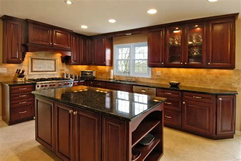 Black Kitchen Cabinets Ideas Rich Cherry Kitchen Traditional Kitchen Chicago By