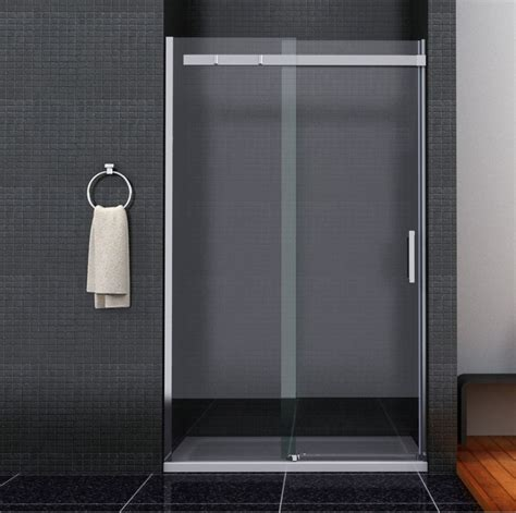 Shower Enclosure Sliding Door Frameless Sliding Shower Door Enclosure 8mm Glass Screen Side Panel Tray Ebay