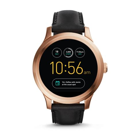 smartwatch fossil 1 smartwatch q founder black leather fossil