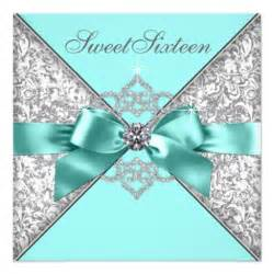 white diamonds teal blue sweet 16 birthday invitation zazzle