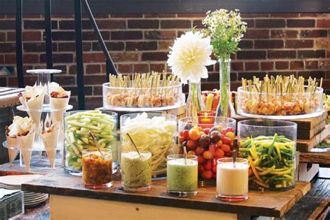 New Years Eve Wedding Reception Decorations Crudite Dip And Shrimp Display On An Antique Cart By L
