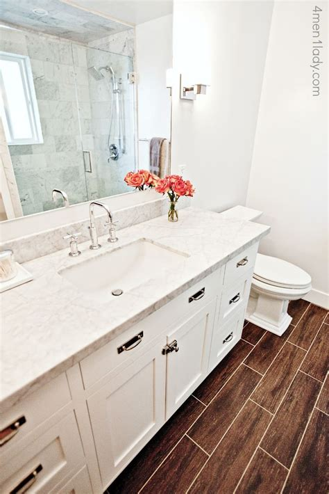 Wood Porcelain Tile Bathroom by Carrara Marble Bathroom Countertop With Mitered Edge