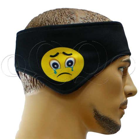 emoji kulaklikli kafa sac bandi siyah bandana imalati