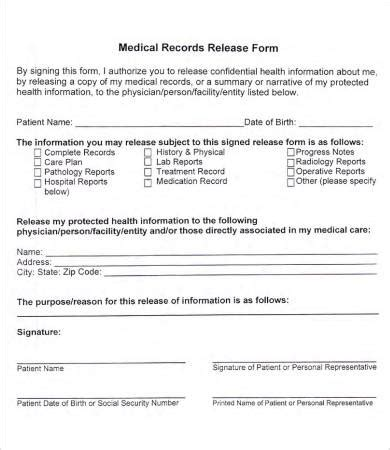 record release form template records release form 7 free pdf documents