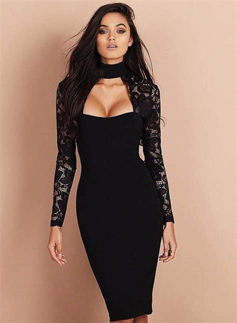 Lace Mock Neck Sleeve Dress mock neck sleeve lace panel bodycon dress oasap