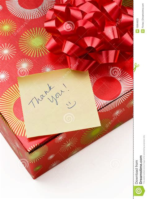 thank you for new year gift thank you note and gift stock photos image 16964923