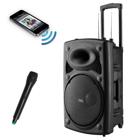 fs 4060p portable rechargeable bluetooth karaoke pa speaker system w mic usb sd ebay