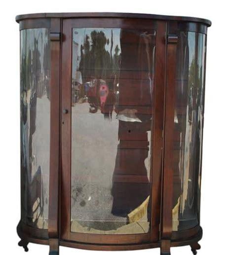 antique bow front mahogany curio cabinet 61 quot h
