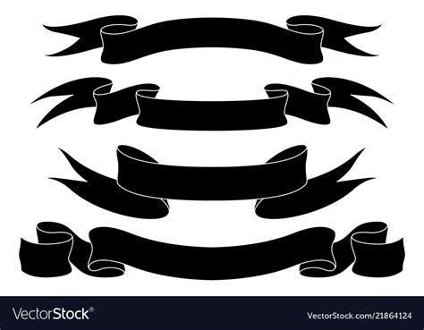 ribbon banners black icons set royalty  vector image