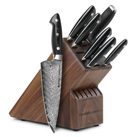 Bob Kramer Damascus Knife Set 8 piece with Block by