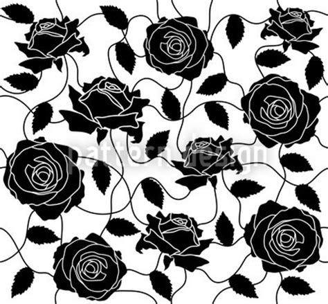 black pattern rose briar rose black and white pattern design