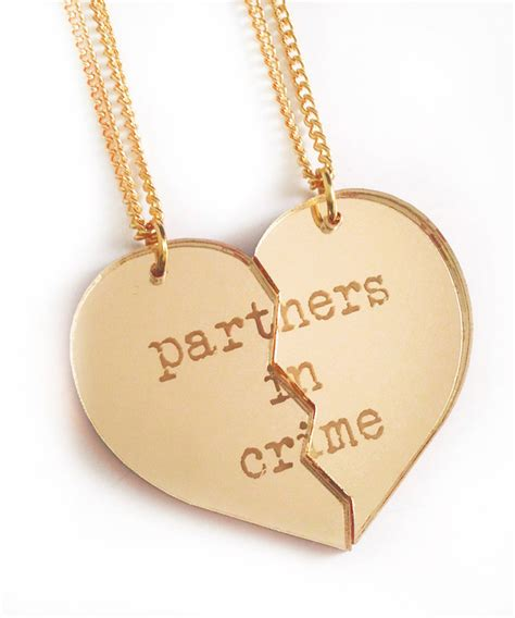partners in crime friendship necklace set gold split