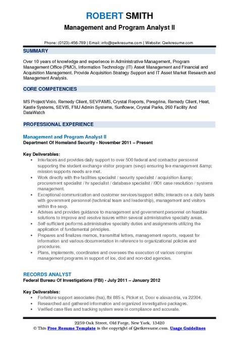 program analyst resume sles management and program analyst resume sles qwikresume