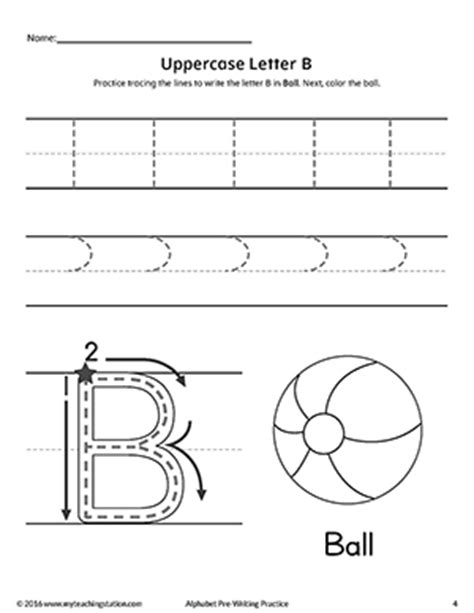 Writing Letter B Worksheets