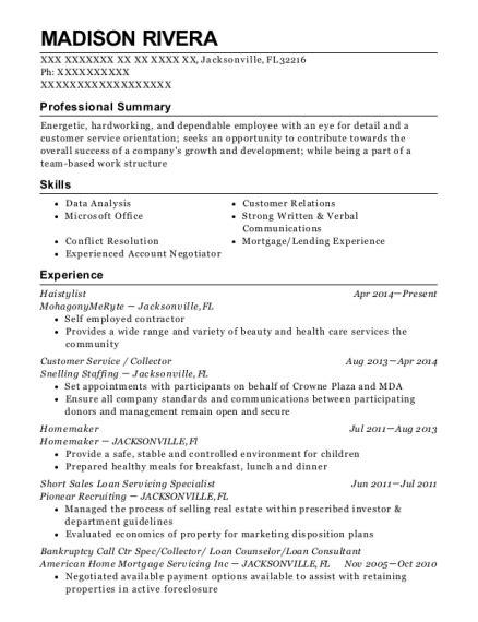 Loan Servicing Specialist Sle Resume by Best Sales Loan Servicing Specialist Resumes Resumehelp