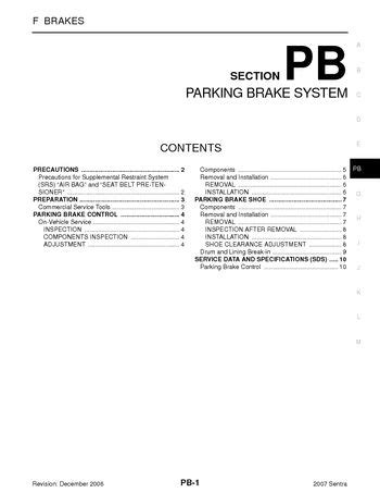 download car manuals 2007 nissan altima regenerative braking download 2007 nissan sentra parking brake system section pb pdf manual 10 pages