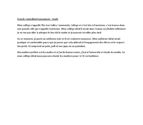 Mon College Ideal Essay by Mon College Ideal Gcse Modern Foreign Languages Marked By Teachers