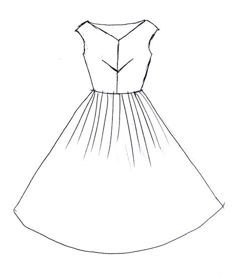 gown easy draw pencil and in color gown easy draw