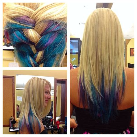 tri colored hair layer blonde with elumen color teal blue and purple on long