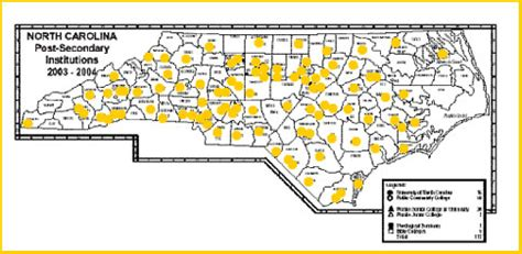 map of carolina colleges and universities universities and colleges in carolina