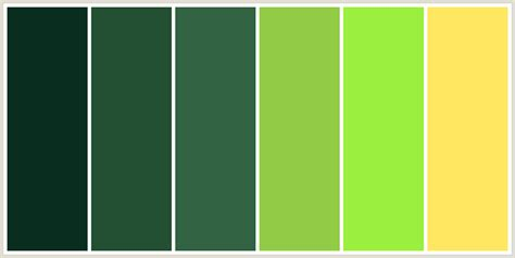 green color schemes colorcombo204 with hex colors 092e20 234f32 326342 92cc47 9aef3f ffe761
