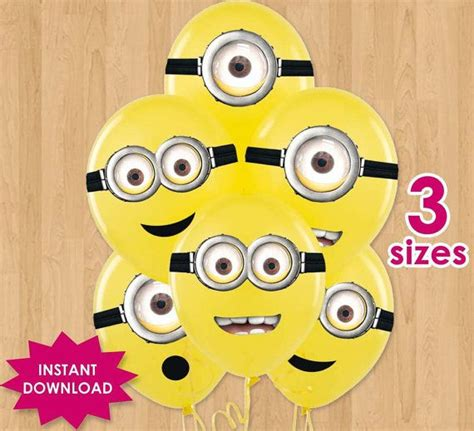 printable minion eyes for balloons minion eyes for party favors printable despicable me