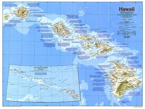 hawaii tubed national geographic reference map books hawaii map