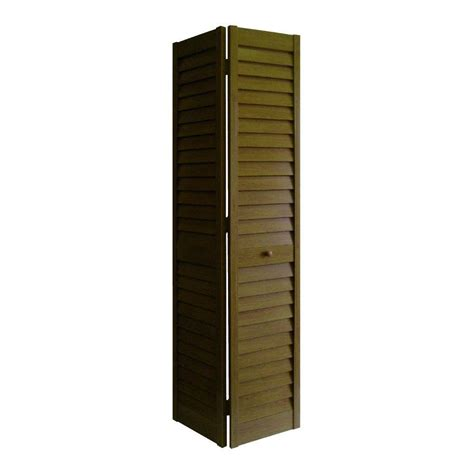Louvered Interior Doors Home Depot 30 In X 80 In 2 In Louver Louver Pecan Composite Interior Closet Bi Fold Door 7003080600